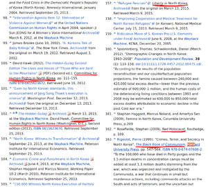 Screenshot of wikipedia sources many of which are anti-communist